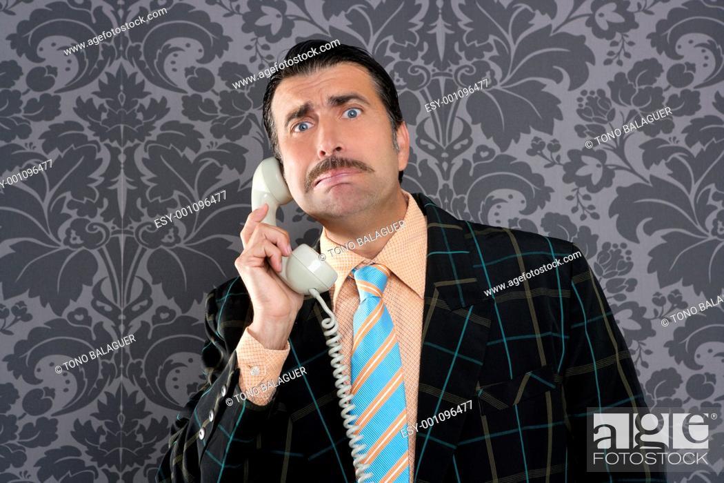 Photo de stock: Nerd scared expression businessman telephone call mustache retro.