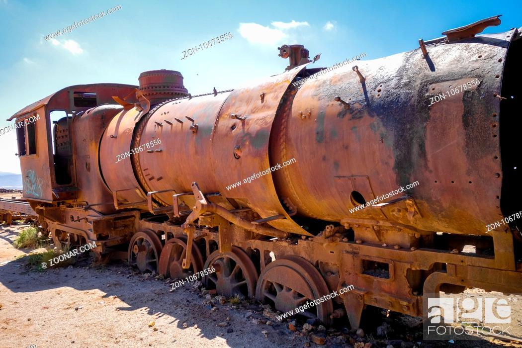 Stock Photo: Train cemetery in Uyuni, Bolivia, south america.