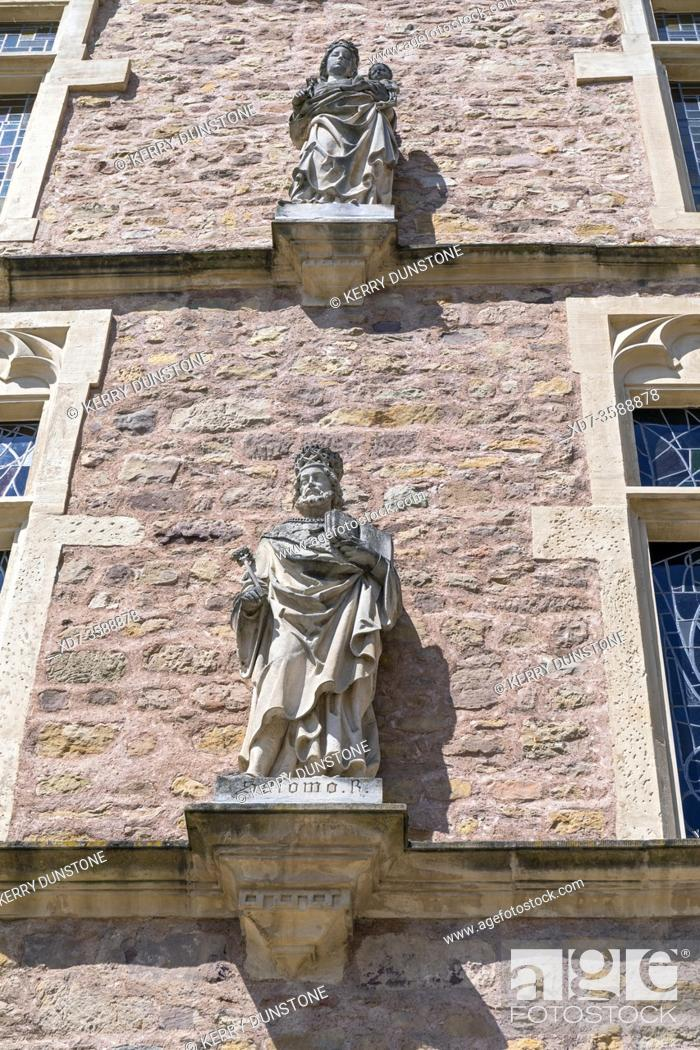 Stock Photo: Europe, Luxembourg, Echternach, Place du Marche, Denzelt or Dingstuhl (Historic Courthouse, Detail).