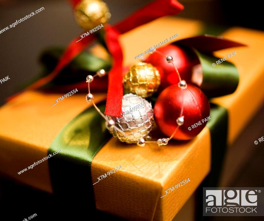 Stock Photo: Colorfuly and elegantly wrapped Christmas gift.