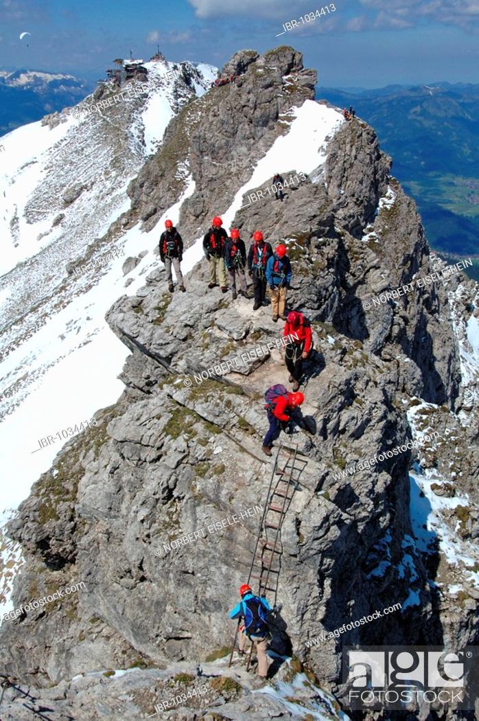 Stock Photo: Rock climbers on Hindelanger climbing route, Oberstdorf, Allgaeu, Bavaria, Germany, Europe.