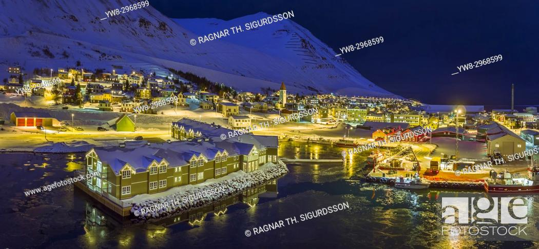 Stock Photo: Wintertime, Siglufjordur, Northern Iceland. This image is shot using a drone.