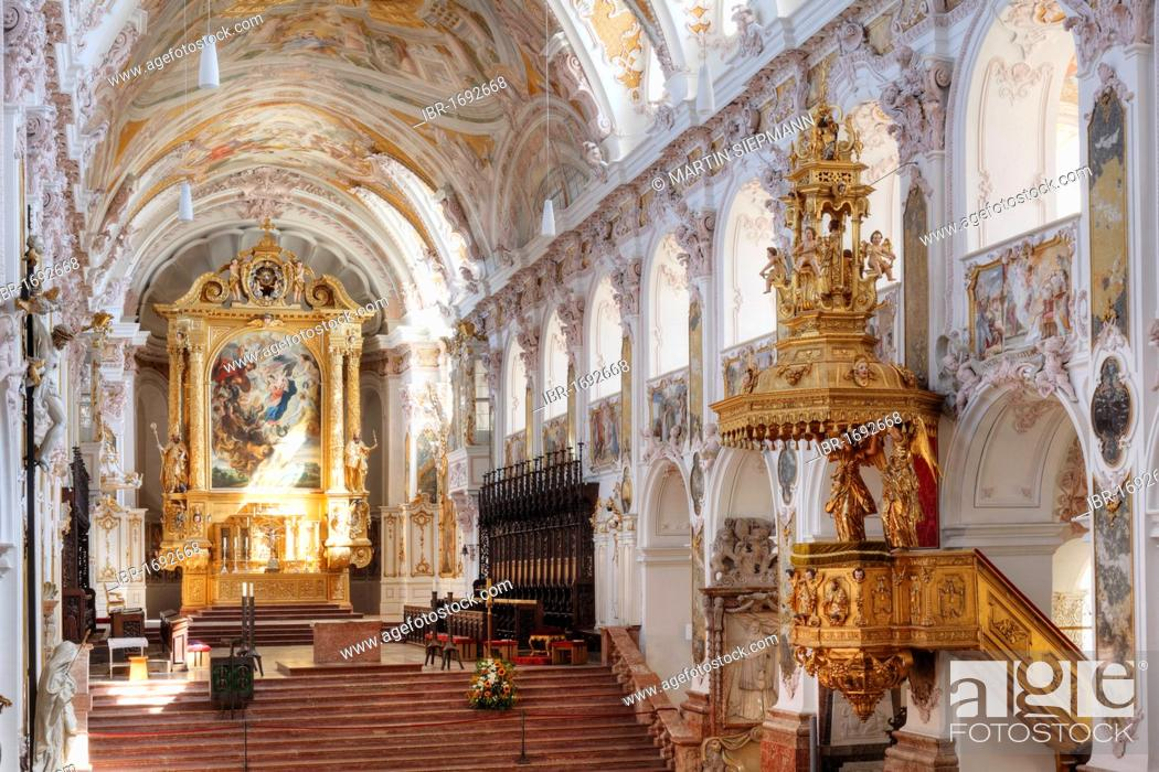 Stock Photo: Interior view of Freisinger Dom St. Maria und St. Korbinian, Freising Cathedral of St. Mary and St. Korbinian, Freising, Upper Bavaria, Bavaria, Germany, Europe.