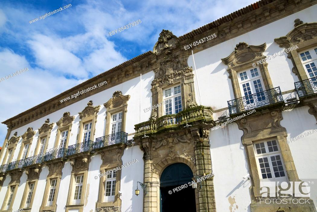 Stock Photo: Entrance of the episcopal palace in Porto, Portugal.