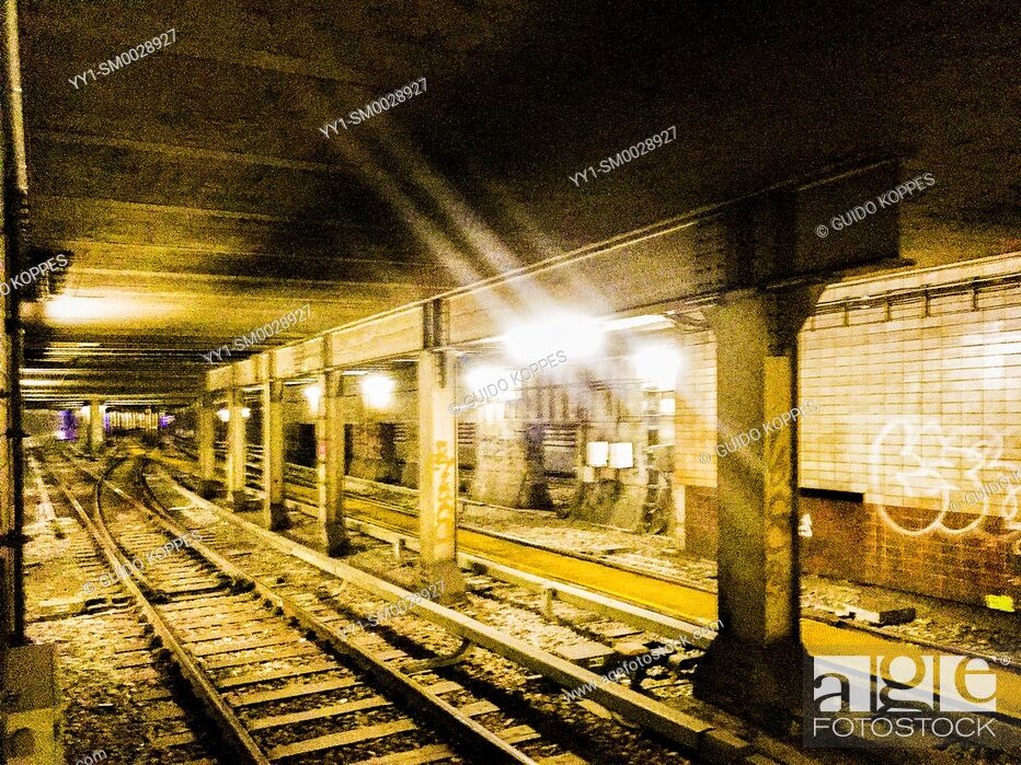 Stock Photo: Berlin, Germany. U-Bahn and Underground tunnel at Nordbahnhof Station.
