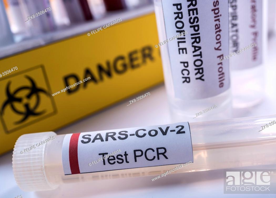 Stock Photo: Vial pcr de SarsCov2 coronavirus, conceptual image.