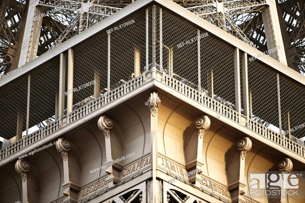 Stock Photo: Detail of viewing gallery Eiffel tower, Paris, France.