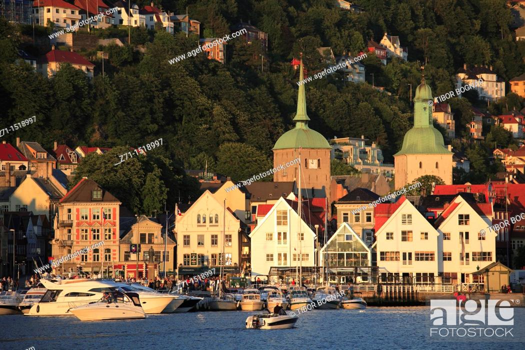 Stock Photo: Skyline, general view, harbour panorama, Bergen, Norway.