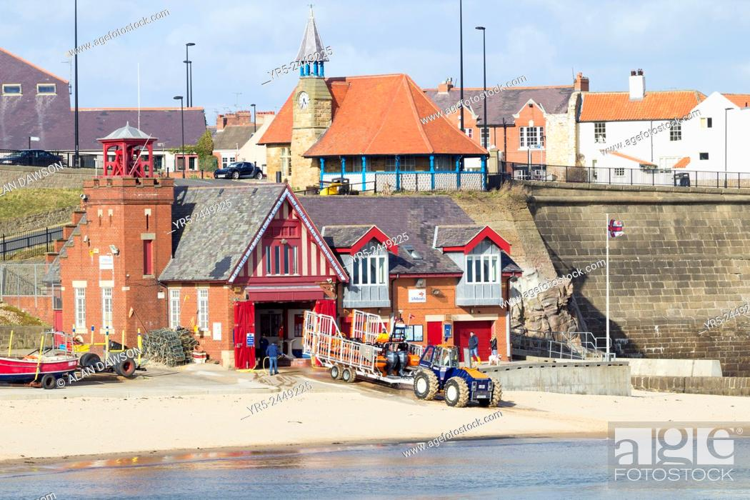 Stock Photo: Cullercoats beach and RNLI lifeboat station. Cullercoats, North Tyneside, north east England, United Kingdom. Cullercoats is approximately a twenty minute drive.