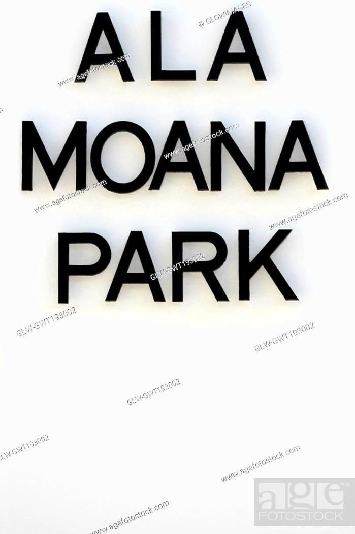 Stock Photo: Close-up of a signboard, Ala Moana Beach Park, Honolulu, Oahu, Hawaii Islands, USA.