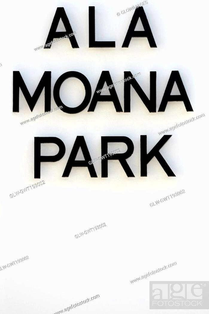 Stock Photo: Close-up of a signboard, Ala Moana Beach Park, Honolulu, Oahu, Hawaii Islands, USA.