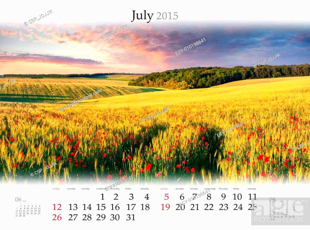 Stock Photo: Calendar 2015. July. Beautiful summer sunset on the field of whe.