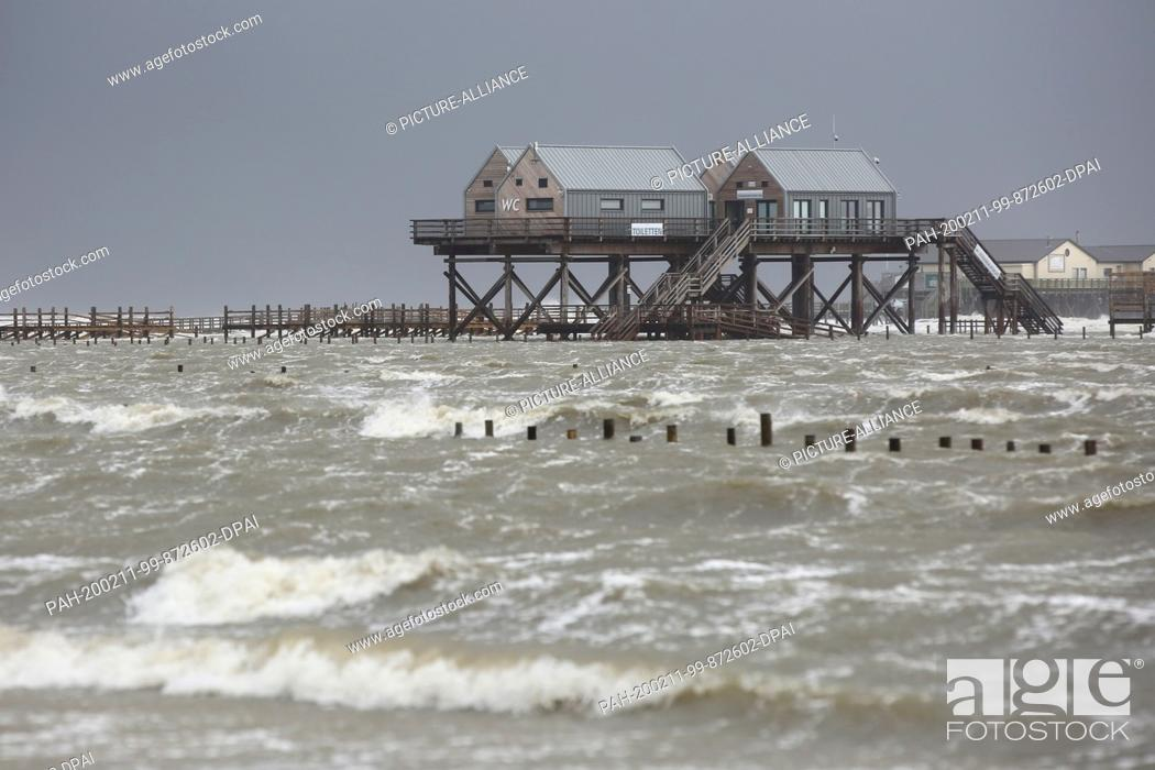 Stock Photo: 11 February 2020, Schleswig-Holstein, St. Peter-Ording: Water floods the beach of St. Peter-Ording, where the raised pile dwellings can be seen.