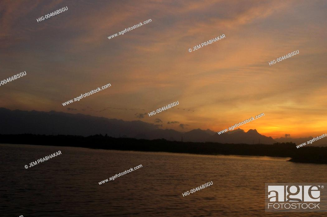 Stock Photo: SUNSET OVER WESTERN GHATS, INDIA.