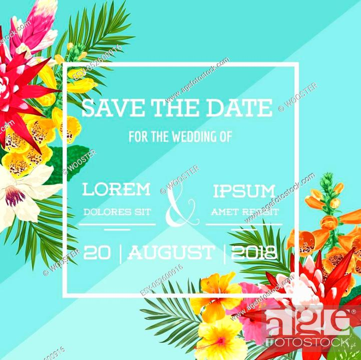 Wedding Invitation Template With Tiger Lily Flowers And Palm Leaves Stock Vector Vector And Low Budget Royalty Free Image Pic Esy 052600916 Agefotostock Tropic banner design template tropical leaves vector. 2