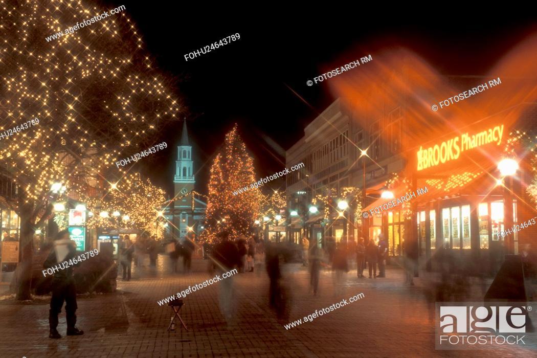 Burlington, decorations, pedestrian street, city, winter