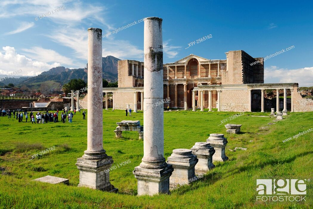 Stock Photo: The bath gymnasium complex of the ancient Lydian Persian Greek Roman city of Sardis, Lydia, Turkey.