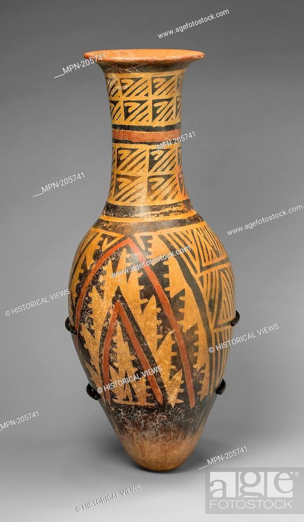 Stock Photo: Urn Painted with a Geometric Textile-like Pattern - A.D. 1100/1500 - Carchi Carchi province, Ecuador - Artist: Carchi, Origin: Carchi, Date: 1100–1500.