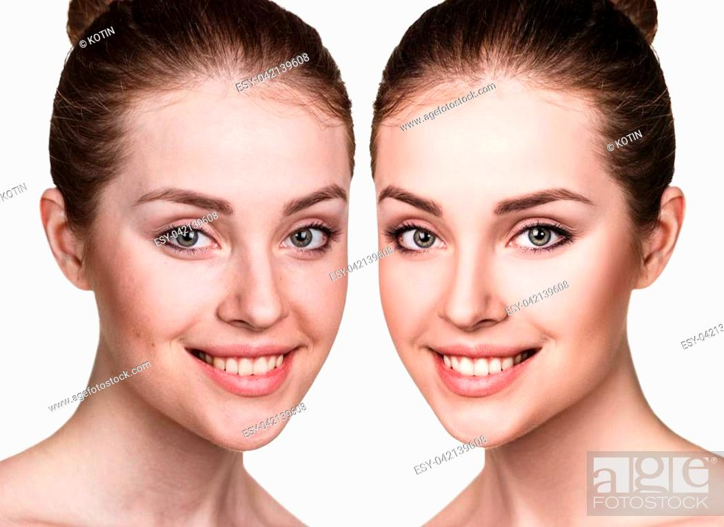 Imagen: Comparison portrait of young woman before and after retouch.