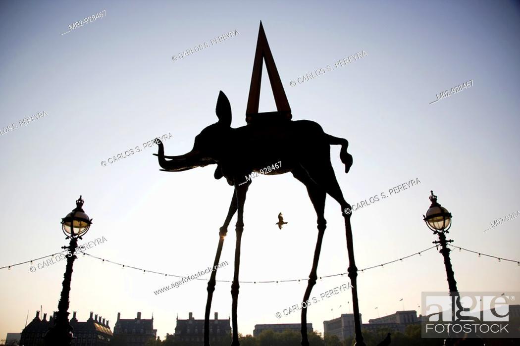 Stock Photo: Dali art around London Eye, London, UK.
