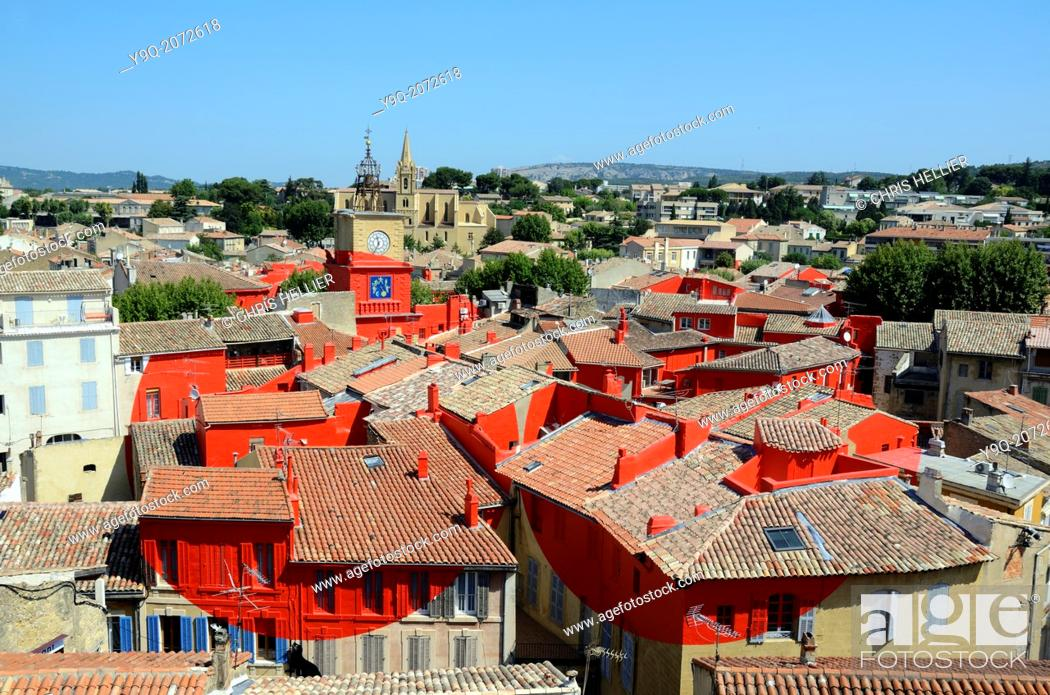Stock Photo: View over Salon-de-Provence Painted Red Art Installation by Felice Varini Provence France.
