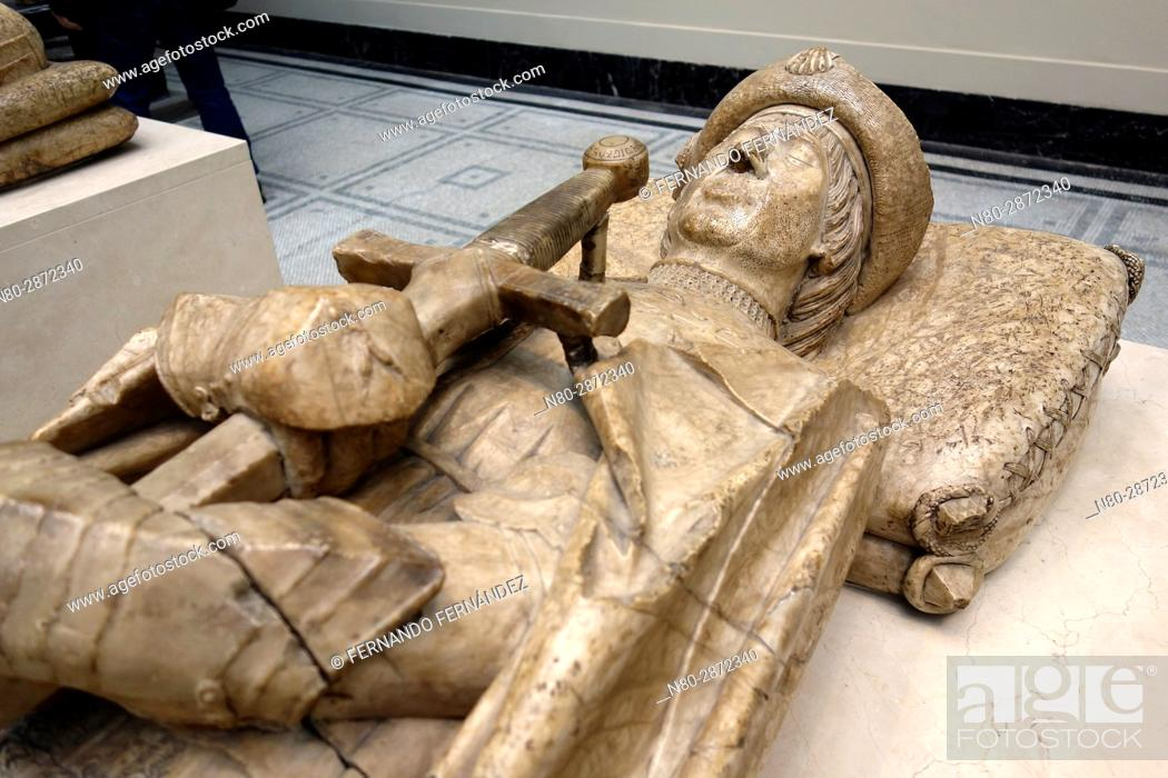 Stock Photo: Effigy of Don Garcia de Osorio. Alabaster. Spain. Toledo. 1499-1505. The Victoria and Albert Museum. London. England. UK. Europe.