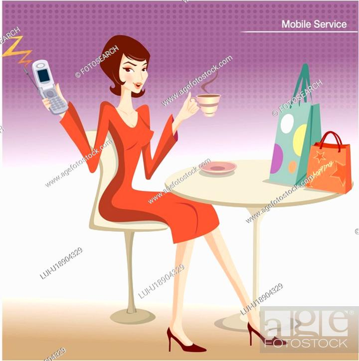 Stock Photo: table, cellular phone, communication, mobile, cell phone, mother.