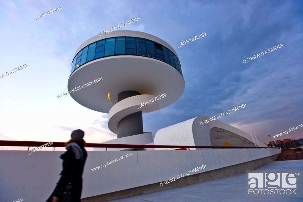 Stock Photo: Oscar Niemeyer Cultural Center  Aviles  Asturias  Spain.