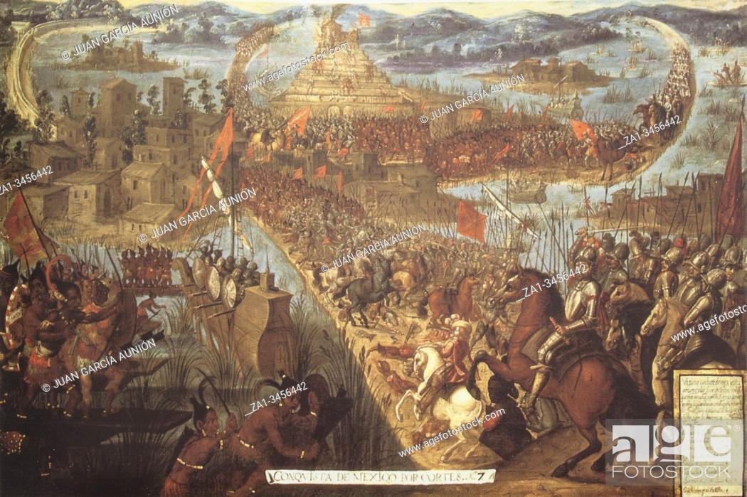 Stock Photo: Conquest of Tenochtitlan by Hernan Cortes. Naval warfare details. Unknown 17th Century artist.