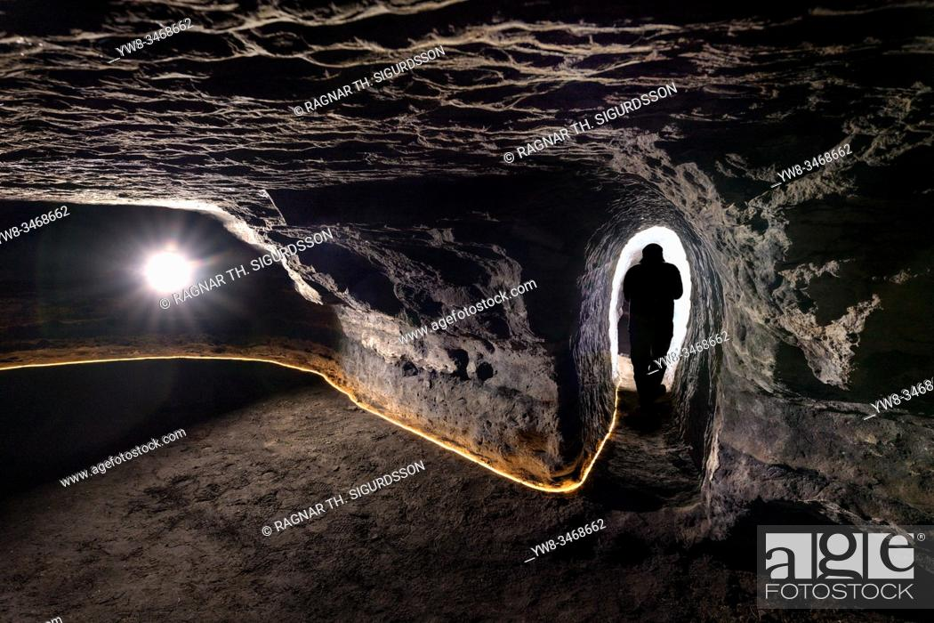 Stock Photo: Caves of Hella, Iceland. Man made caves, could be made by Celts who inhabited Iceland before the official Norse settlement, late 9th century. . . .