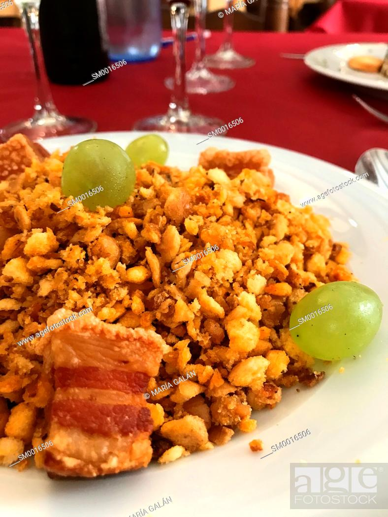 Stock Photo: Migas serving. La Alcarria, Spain.