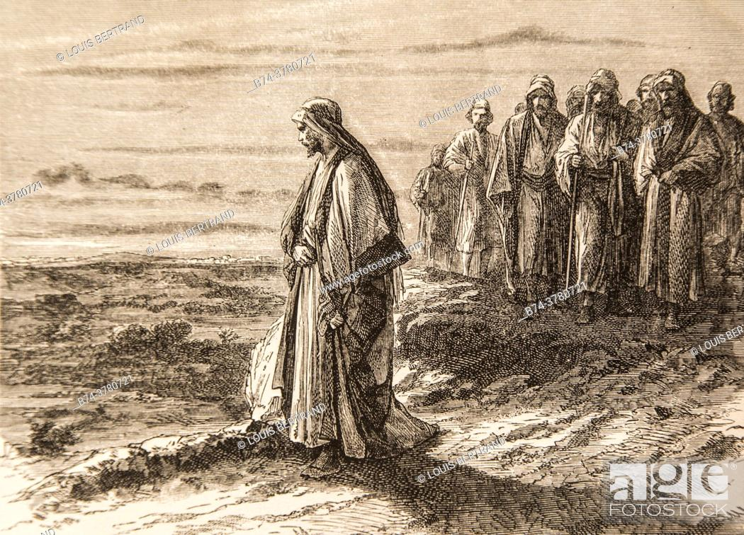 Photo de stock: pensive jesus ahead of the group of these companions, life of jesus by ernest renan, drawings by godefroy durand, publisher michel levy 1870.