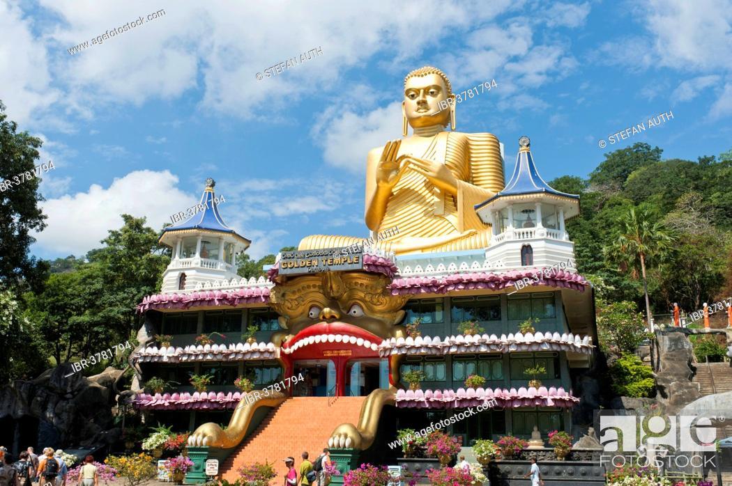 Stock Photo: The Golden Temple with a Buddha statue, Dambulla, Sri Lanka.