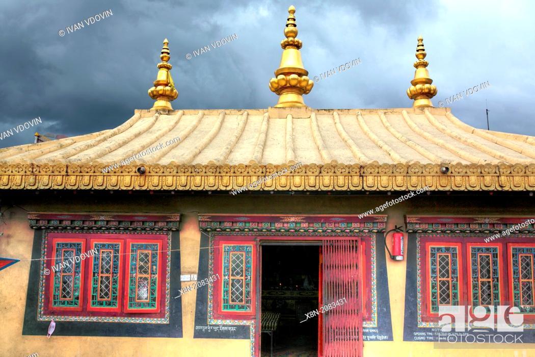 Buddhist temple near Boudhanath stupa, Kathmandu, Nepal, Stock Photo
