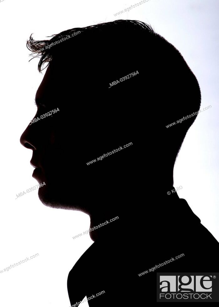 Stock Photo: Silhouette, man, side-portrait, people, men's-head, head, face, profile, side-view, outlines, anonymity, unrecognized, mysteriously, silhouette,.