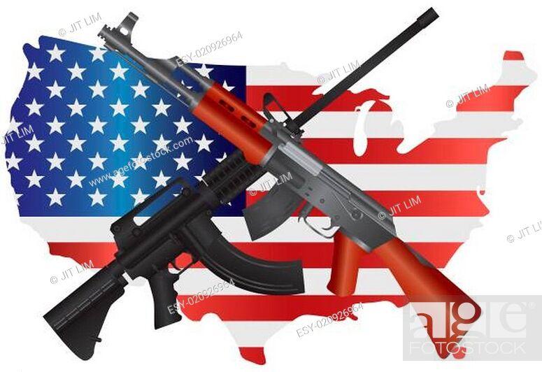 Imagen: Assault Rifles with USA Map Flag Illustration.