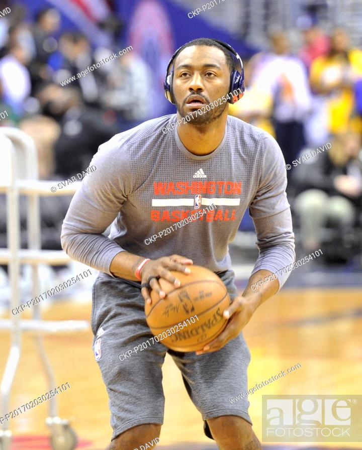 Stock Photo: Washington Wizards player John Wall during a warm-up prior to the match against Los Angeles Lakers at Washington, USA, February 2, 2017.