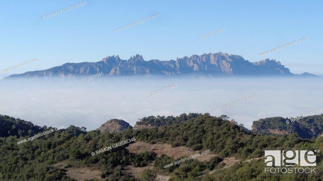 Stock Photo: Montserrat Mountains seen from Serra de l'Obac. Catalonia, Spain.