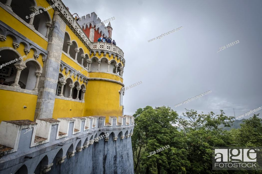 Stock Photo: Most beautiful castles of Europe - Pena palace in Lisbon, Portugal.