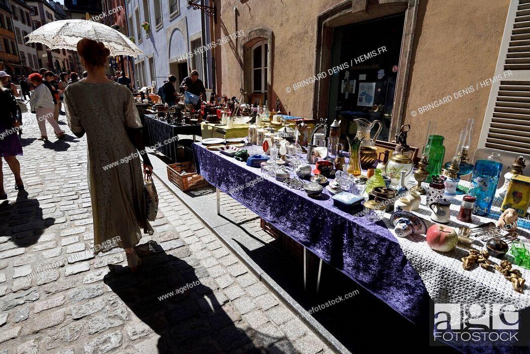Stock Photo: France, Territoire de Belfort, Belfort, Place d Armes, flea market.