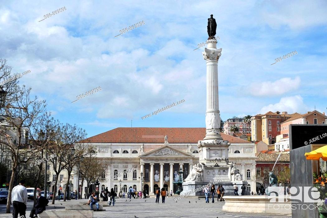 Stock Photo: View of Placa D. Pedro IV and D. Maria II National Theatre, Lisbon (Lisboa), Portugal.