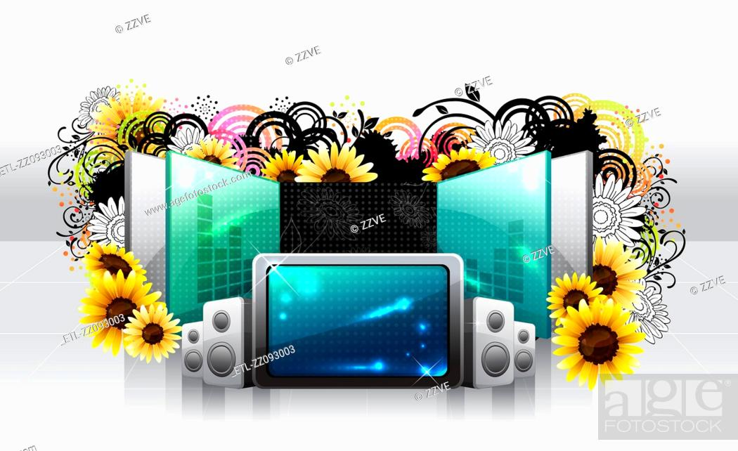 Stock Photo: Screen and large speaker with flora design.