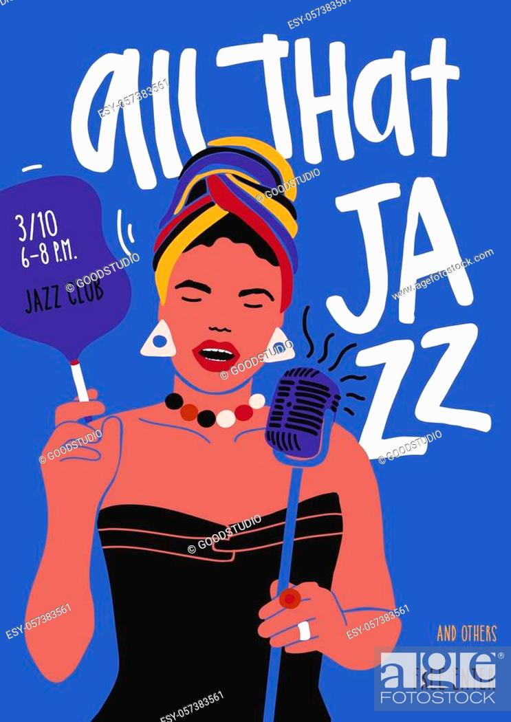Stock Vector: Poster or flyer template for jazz music performance with African American female singer, woman vocalist or soloist with microphone and cigarette.