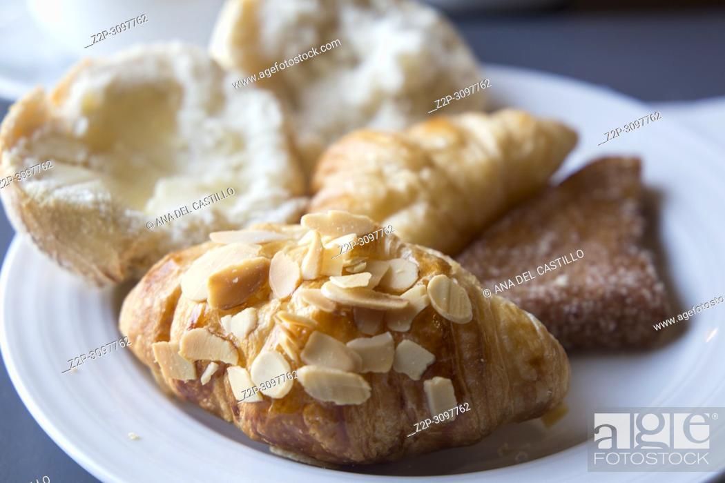 Stock Photo: Breakfast dish with croissants.