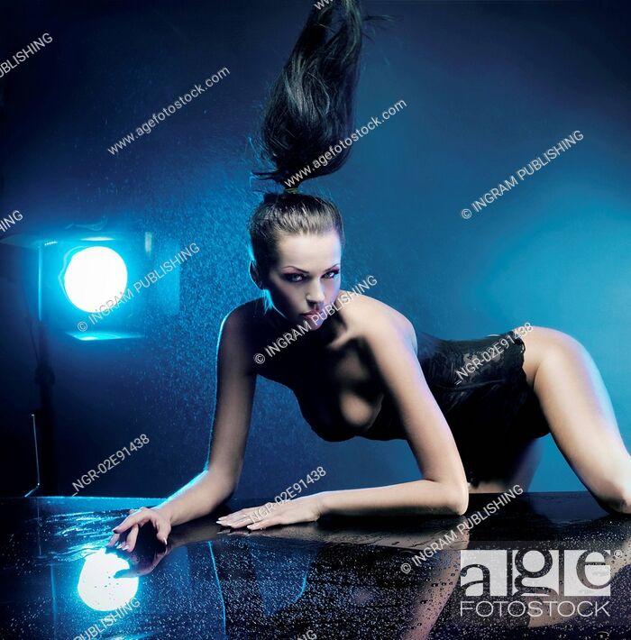 Stock Photo: Sexy brunette posing.