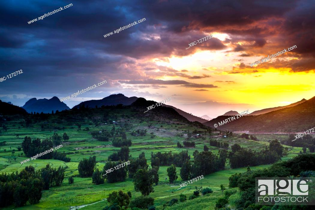 Stock Photo: Landscape in the province Tigray, northern Ethiopia, the mountains of Adwa during sunset  Adwa is famous as a historic battle site  The battle of Adwa 1895 is a.