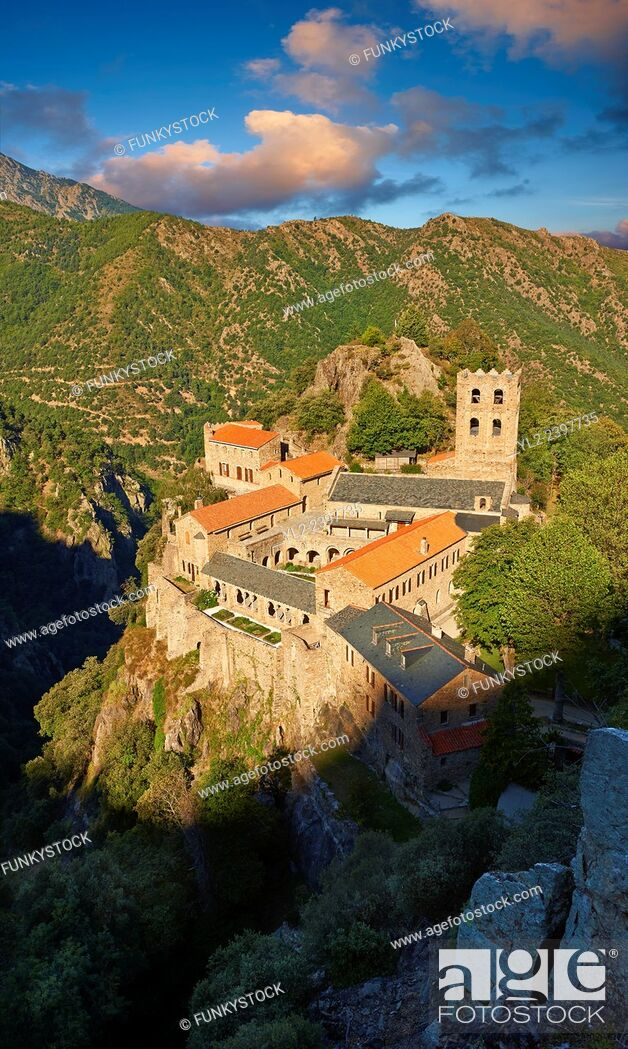 Stock Photo: The First or Lombard Romanesque style Abbey of Saint Martin-du-Canigou in the Pyrenees, Orientales department, France.