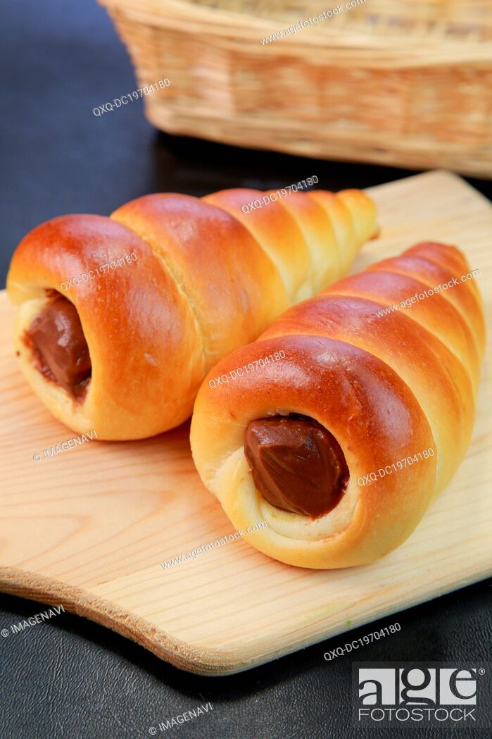 Stock Photo: Chocolate Filled Brioches.