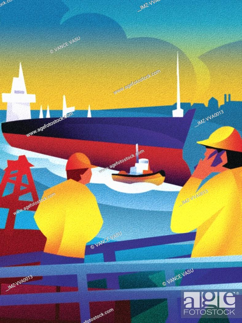 Stock Photo: Illustration of a an oil tanker.