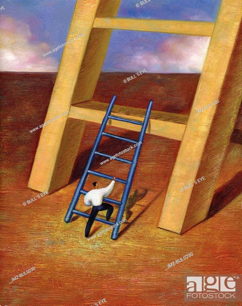 Stock Photo: Businessman using small ladder to climb onto a step of giant ladder.